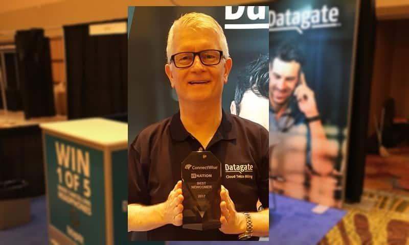 Mark Loveys shows off Datagate's ITN17 Best Newcomer Award