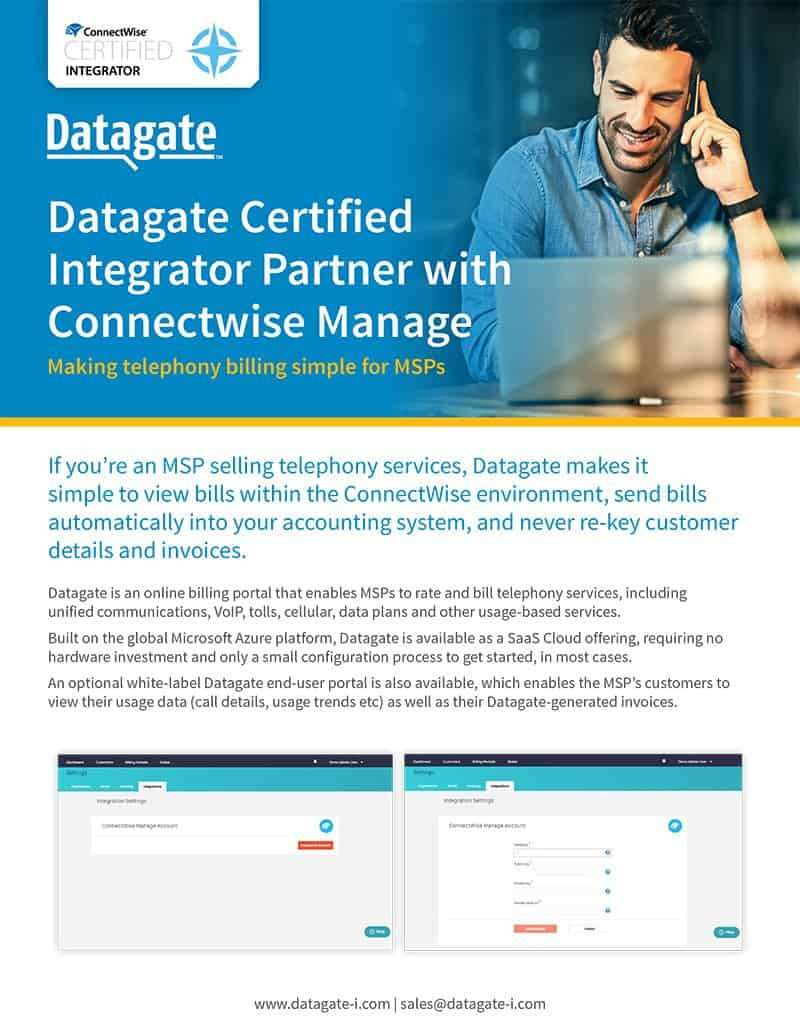 Datagate: ConnectWise Certified Integrator Technical Brochure, Oct 18
